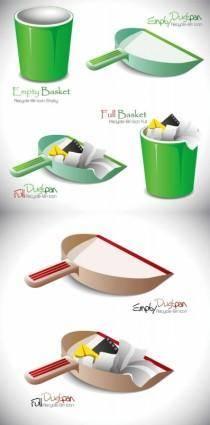 Trash and garbage shovel vector