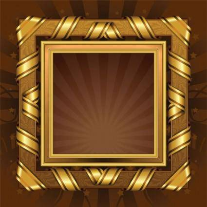 Antique gold frame 01 vector