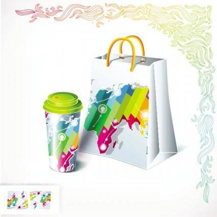 Gorgeous bag and tea 01 vector