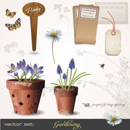 free vector Gardening theme 01 vector