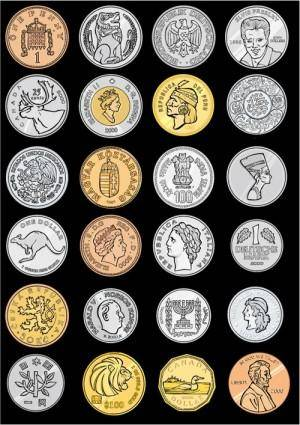 free vector Variety of foreign coins vector