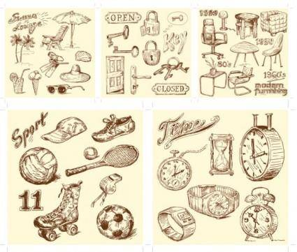 free vector Handdrawn style vector goods of life