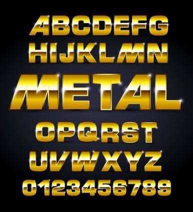free vector Metal texture font design 02 vector