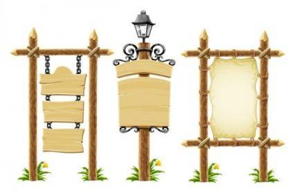 free vector Vector wooden bulletin board lights