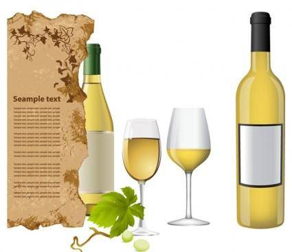free vector White wine bottle and glasses vector