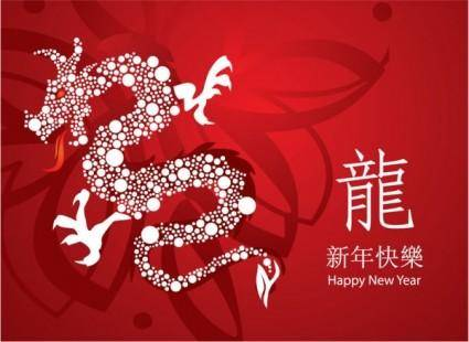 free vector Year of the dragon cards 02 vector