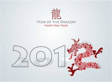 free vector Year of the dragon cards 03 vector