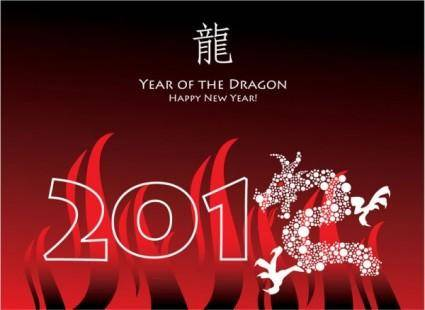 free vector Year of the dragon cards 04 vector