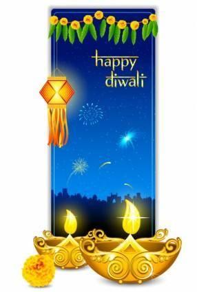 free vector Beautiful diwali cards 07 vector
