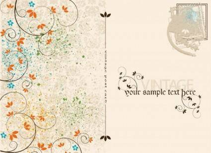 free vector Vintage postcards and stamps 02 vector
