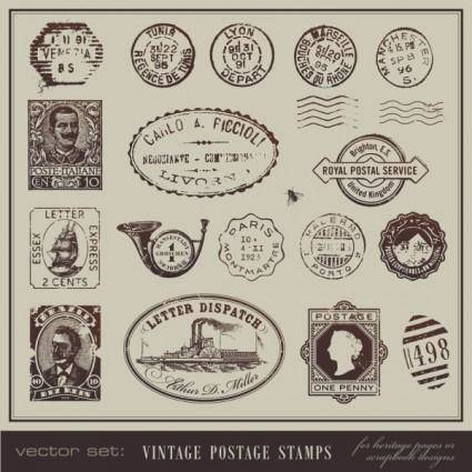 free vector Vintage postcards and stamps 04 vector