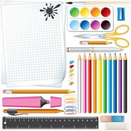 free vector School supplies 02 vector