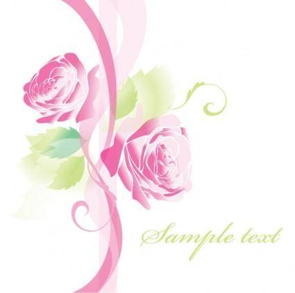 free vector Beautiful roses greeting cards 02 vector