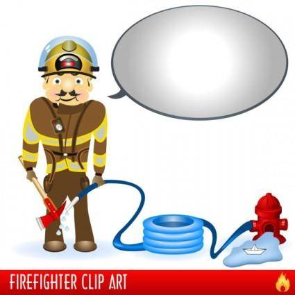Firefighters and fire equipment 03 vector