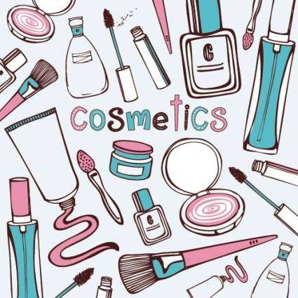 Cosmetics handpainted vector