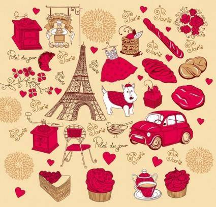 French red rose theme vector