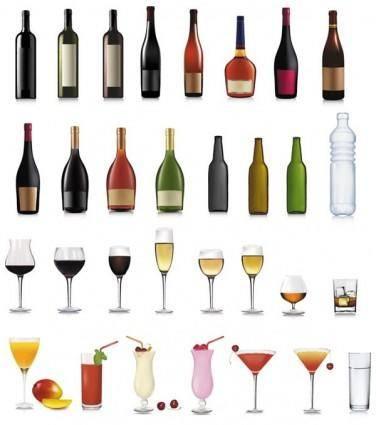 Bottle and goblet 03 vector