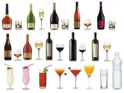 Bottle and goblet 02 vector
