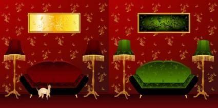 free vector Indoor scenes vector
