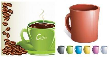 free vector Coffee coffee beans mugs vector