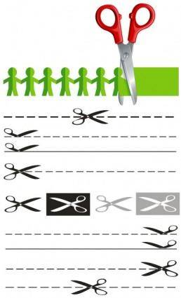 free vector 2 scissors papercut vector
