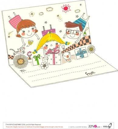 free vector Korea cute line drawing vector 1 family