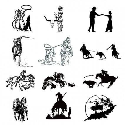 free vector Black and white cowboy series a vector drawing