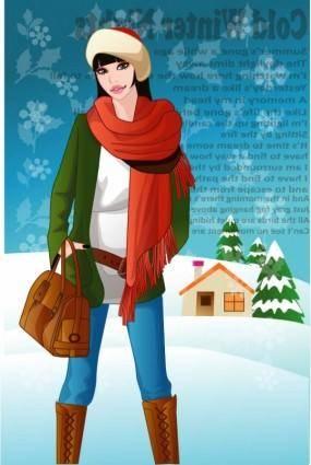 free vector Vector 11 female winter