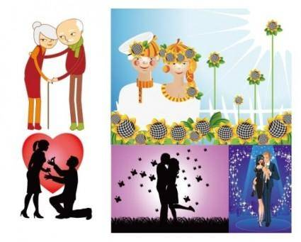 free vector Happy couple and the couple vector