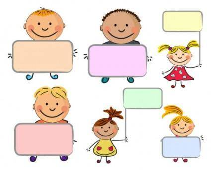 Placards vector cute kids