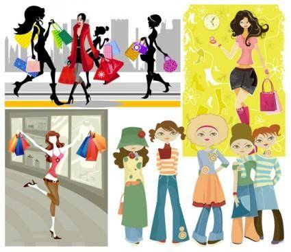 free vector 5 vector fashion shopping girl