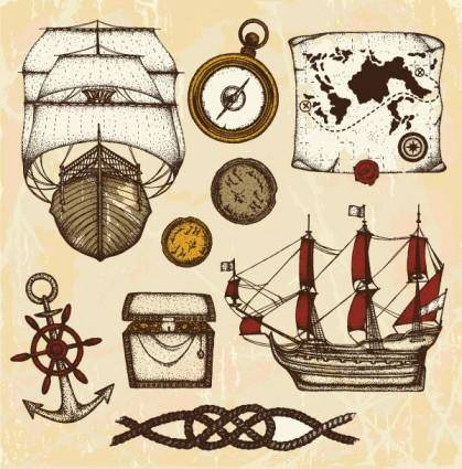 free vector Ancient nautical theme vector