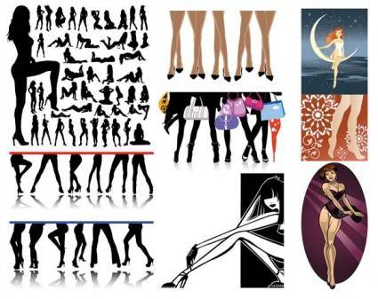 free vector Female legs feature vector