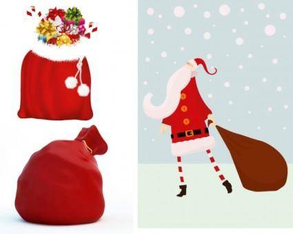 free vector Santa claus and gift bags vector