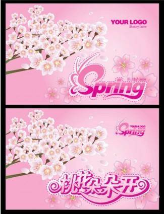 free vector Pink spring blossoming peach flag hanging open