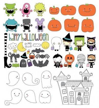 free vector Cute halloween theme vector