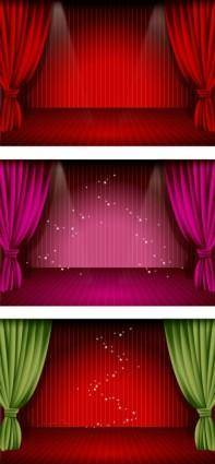 free vector Beautiful stage curtain vector