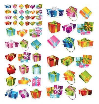 free vector A variety of exquisite gift box vector