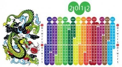 free vector 2012 year of the dragon calendar 1 vector