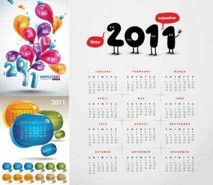 free vector 3 beautiful 2011 calendar vector