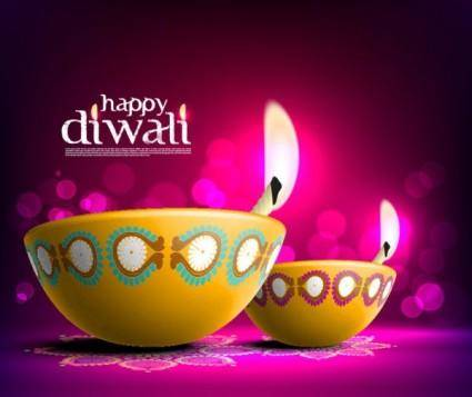 free vector The beautiful diwali card 08 vector