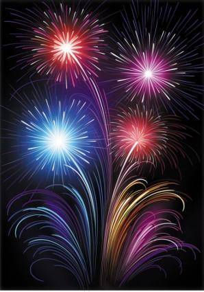 free vector Vector 6 brilliant fireworks fireworks