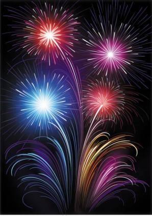 Vector 6 brilliant fireworks fireworks