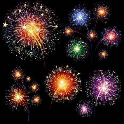 free vector Vector 7 brilliant fireworks fireworks