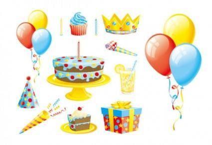 free vector Gift ribbon balloon cake vector