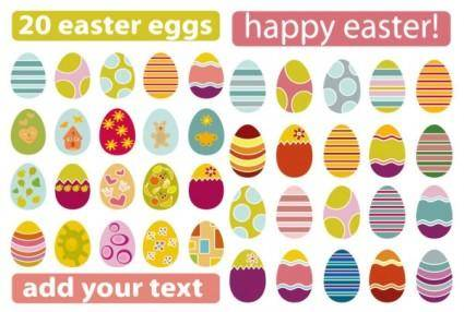 A variety of easter eggs vector