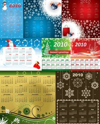 8 2010 calendar template vector