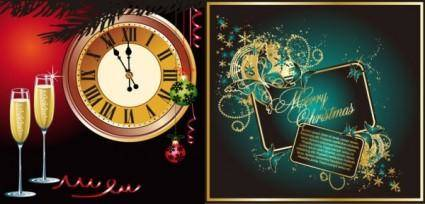 free vector Champagne and other elements of vector butterfly clock