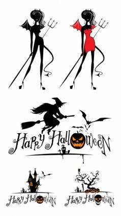 free vector Halloween witch and graphics vector