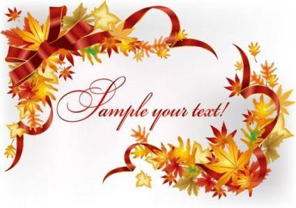 free vector Beautiful leaves card 02 vector